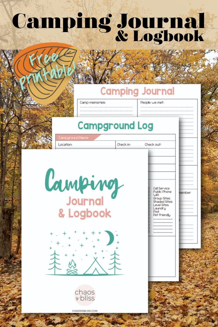 Organize notes from your camping trips together in one easy spot with this free printable camping journal and logbook!
